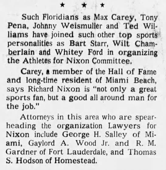 Athletes For Nixon -