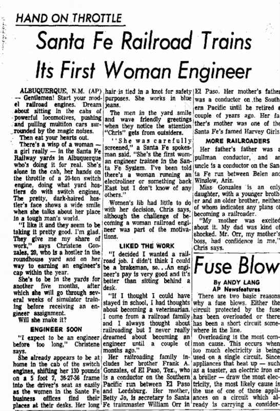 Christene Gonzales first woman railroad engineer -