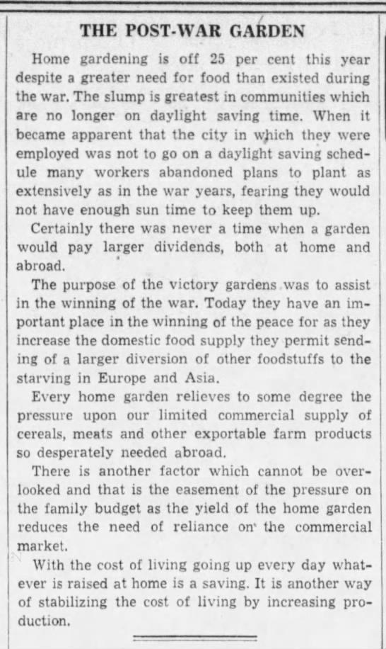 Home gardening drops 25% despite need, 1946 -