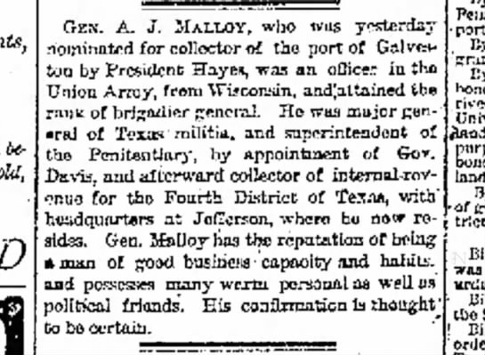 Collector Malloy - tut, being be sold, GEN. A. J. MALLOY, who was...