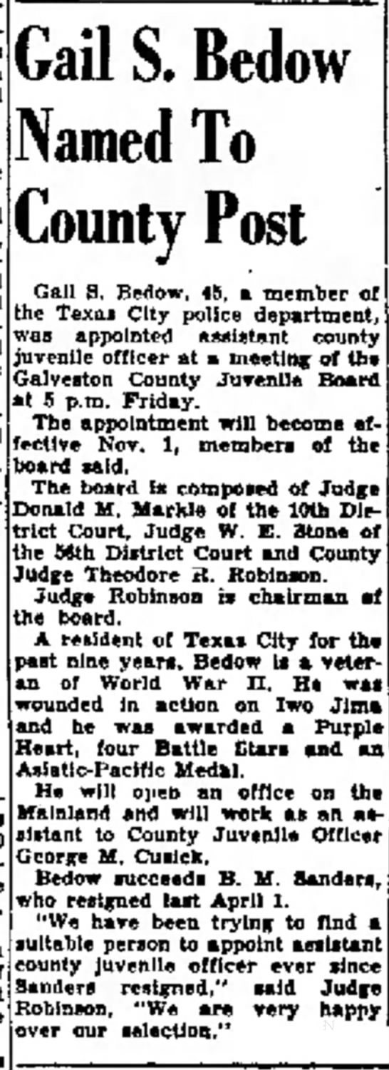 Bedow, Gail, Galveston Daily News, 29 Oct 1955, p1 -
