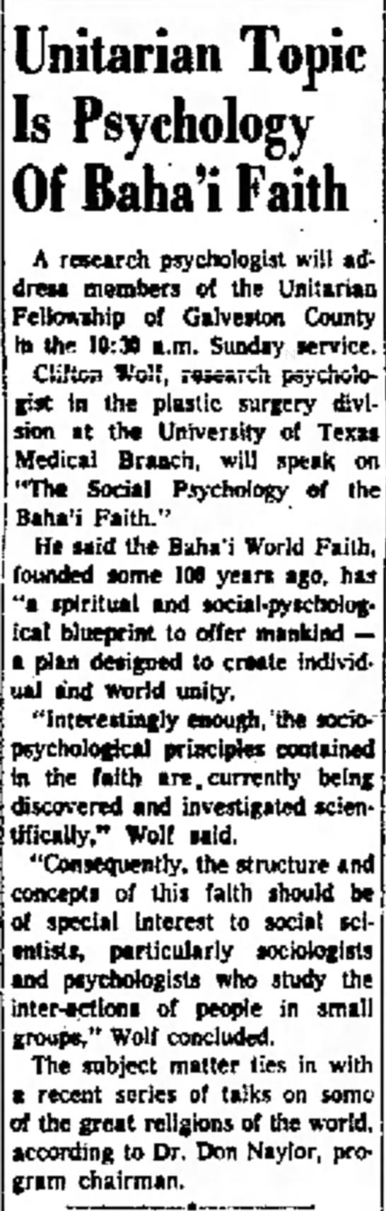 Baha'is address unitarian group - Clifton Wolf -