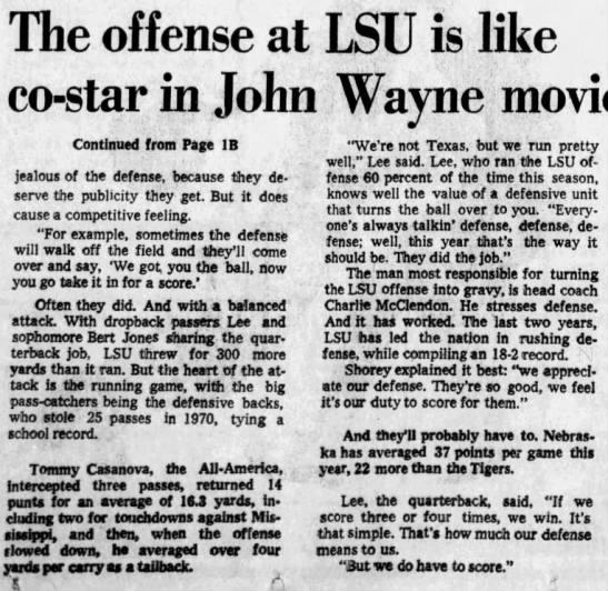 1970 bowl week, LSU offense second fiddle part 2 -