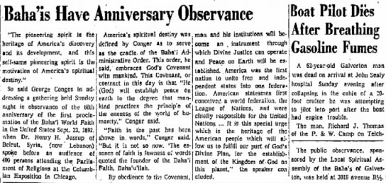 Baha'i observance, with talk by George Conger -