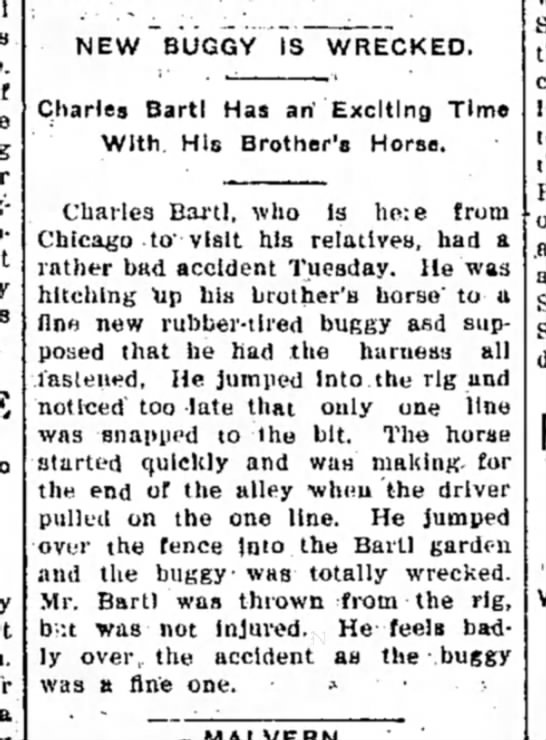 10july1905_chasBartl in from chicago wrecks buggy -