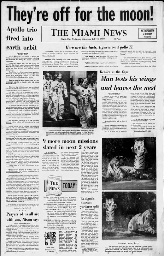 Newspaper front page announces successful launch of Apollo 11 from Cape Kennedy -