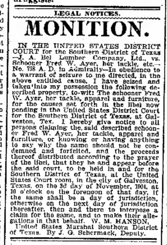 JG Schermack 19Oct1904 Galveston Daily News TX -