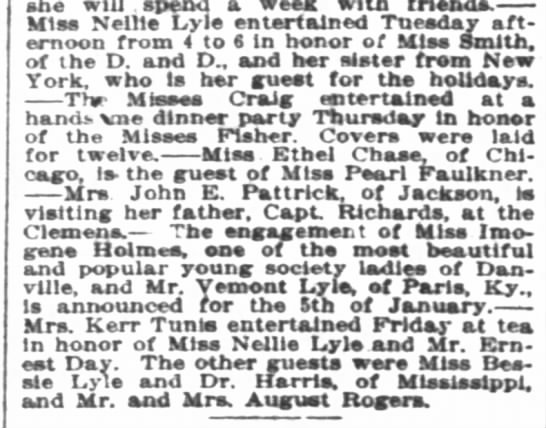 Nellie Lyle entertained Vemont Lyle of Paris KY and Bessie Lyle of MS in Louisville KY -