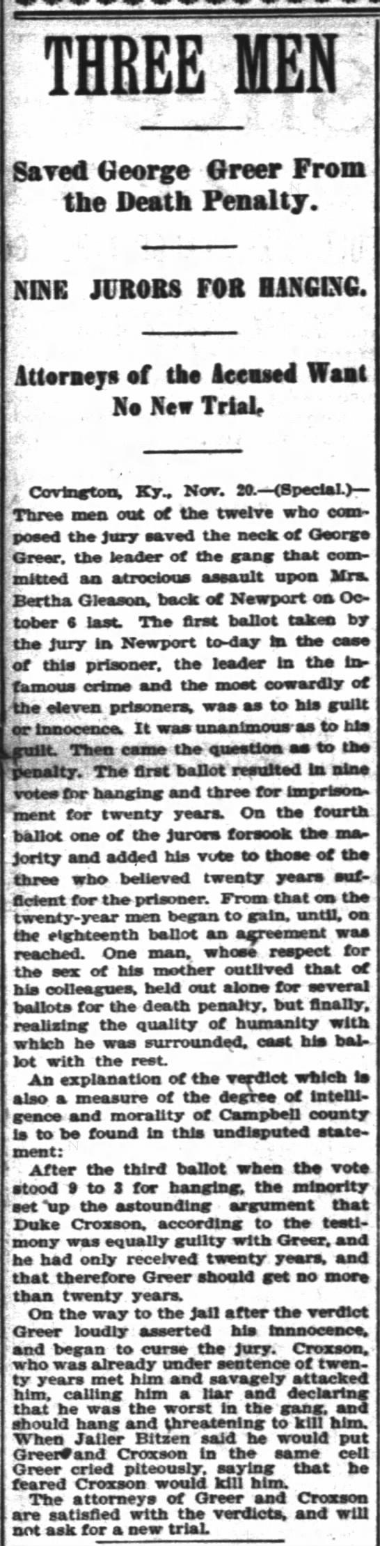 21 Nov 1897 George Greer -