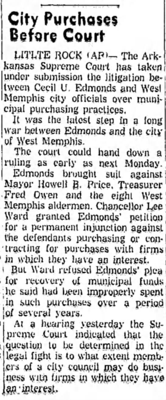 8 Mar 1960 Lawsuit Edmonds vs. City of West Memphis -