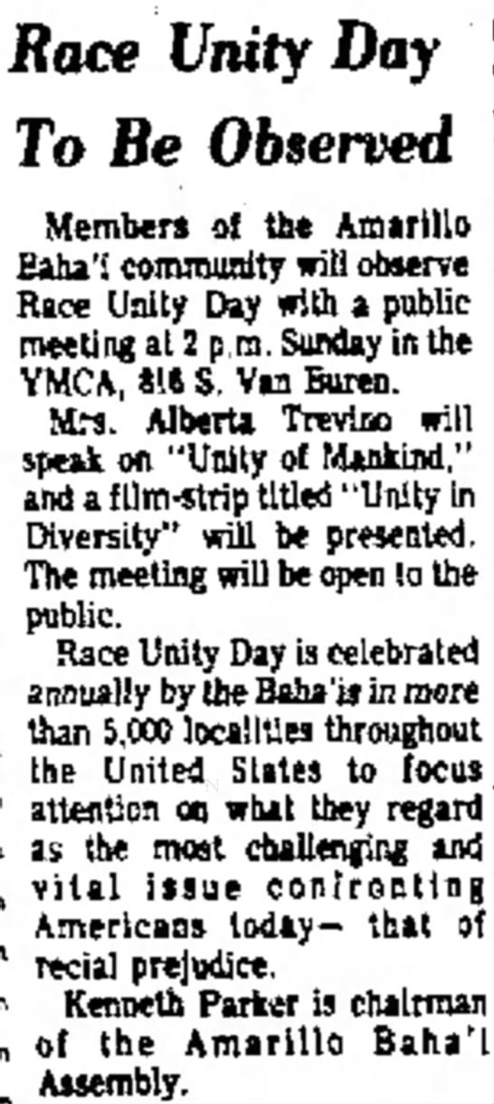 Baha'is obser Race Unity Day with talk by Alberta Trevino -