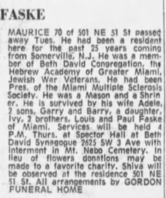 Maurice Faske, Paul Faske's Brother, Obit Sep 5, 1974 -