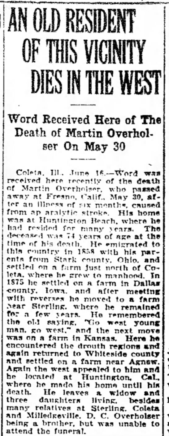 martin overholser obit 1925 - of Word Received Hers of The Death of Martin...