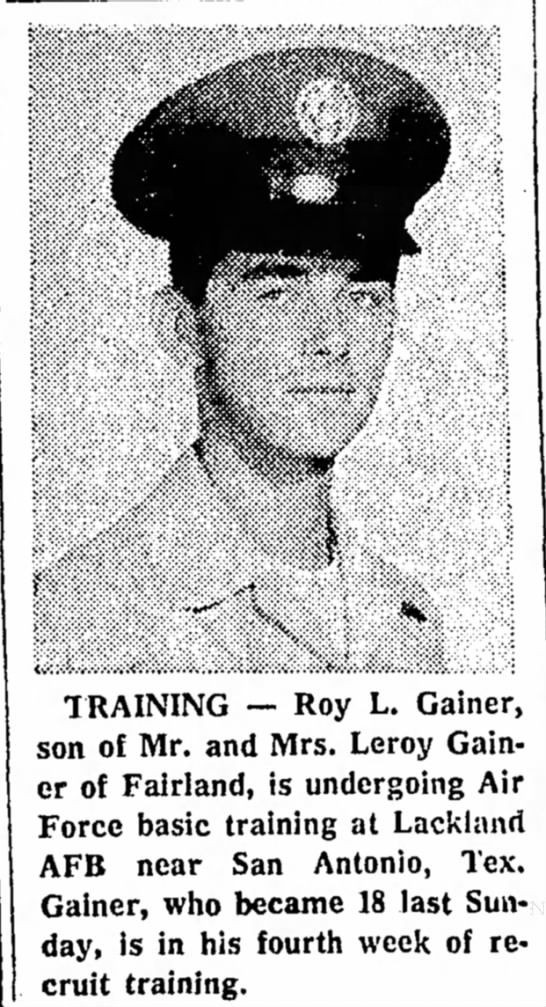 - TRAINING — Roy L. Gainer, son of Mr. and Mrs....