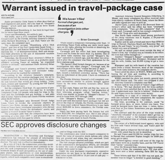 Warrant issued in travel-package case -