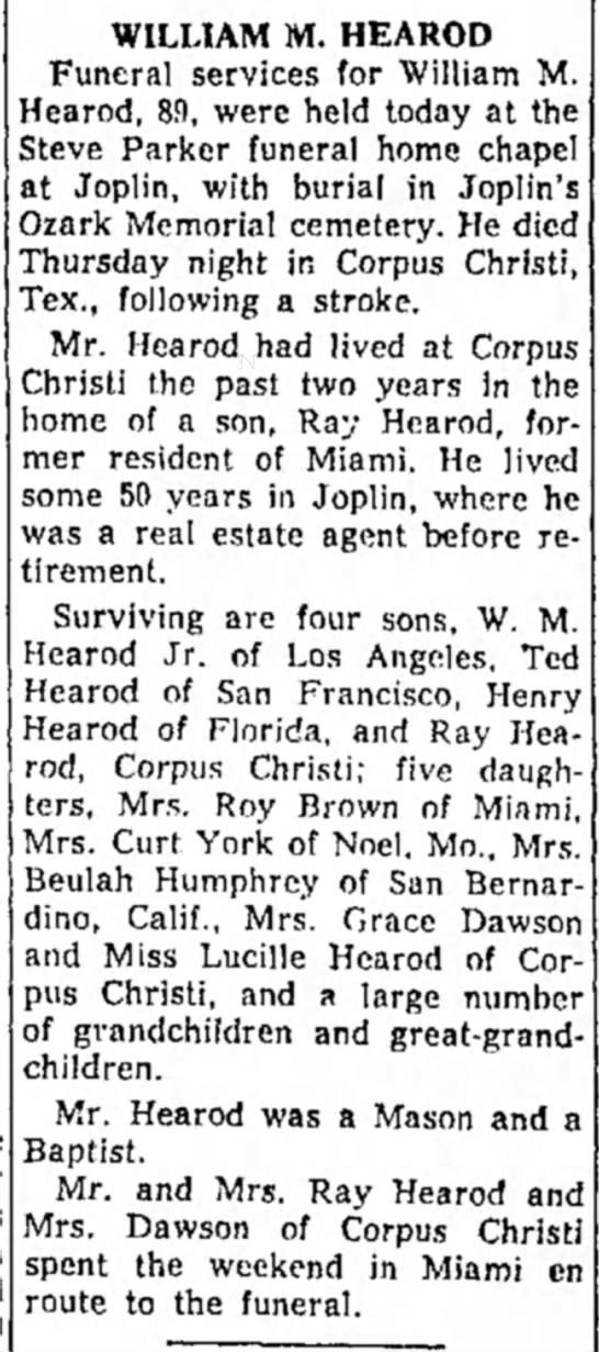 Hearod, William M - obit - 6 Oct 1958 - Miami Daily News -