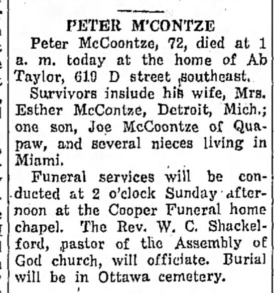 Ottawa cemetery obit..McContze -