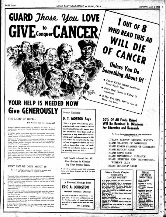 Cancer ad - PAGE EldHT MIAMI DAILY NEVVS*RBCORD — MIAMI/...