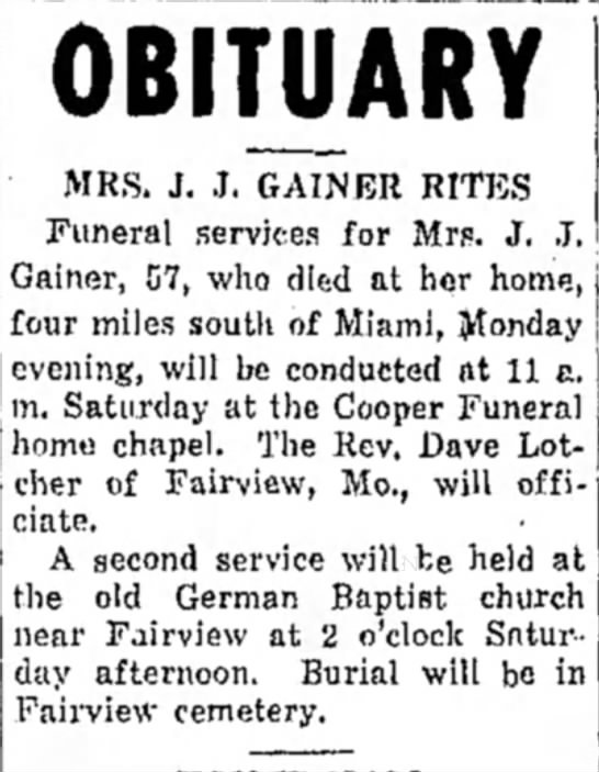 - OBITUARY MRS. J. .1. GAINER RITES Funeral...