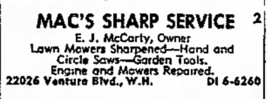 - MACS SHARP SERVICE 2 E. J. McCarty, Owner Lawn...