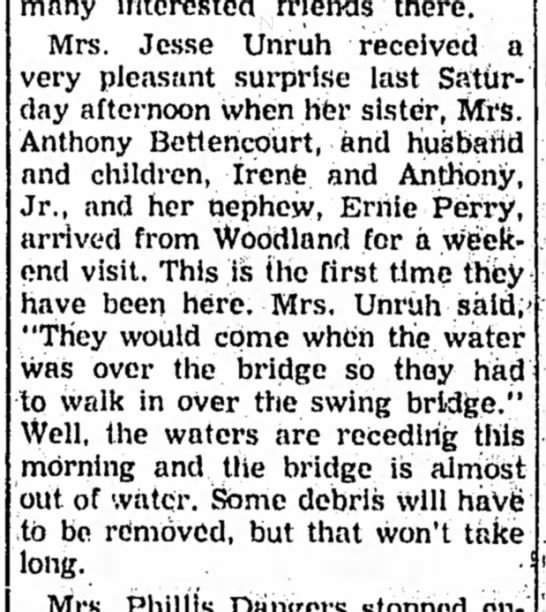 1957 - Mrs Antony Bettencourt, Irene and Anthony and nephew Ernie Perry visit mrs Jesse Unruh -