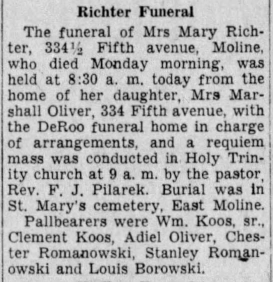 Marion Koos Mother obit 1937 - Richter Funeral The funeral of Mrs Mary...
