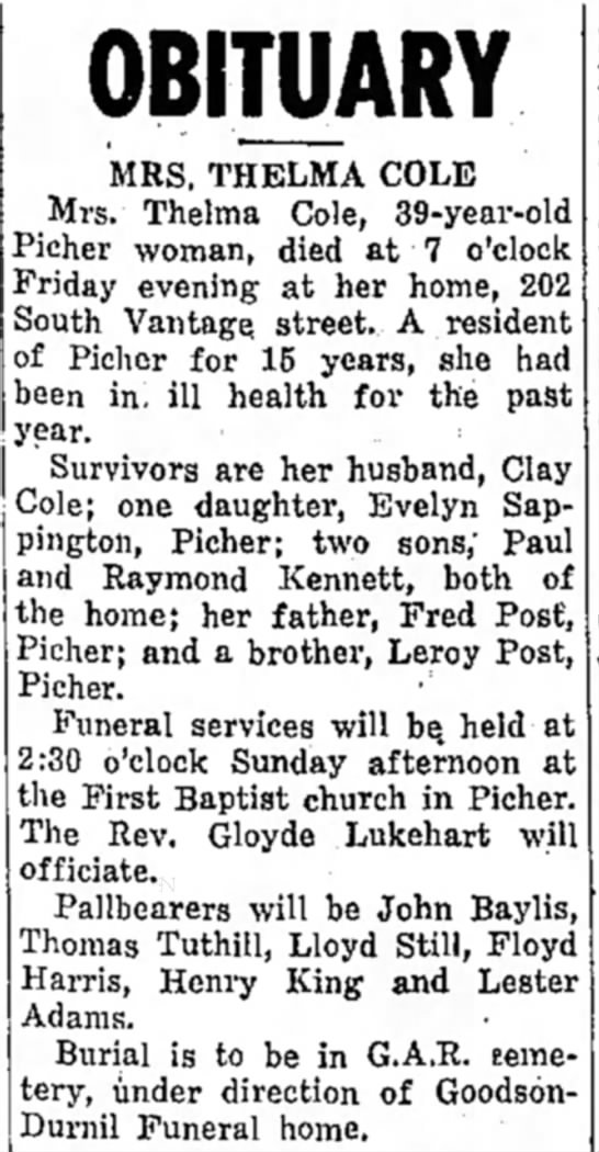 - OBITUARY MRS. THELMA COLE Mrs. Thelma Cole,...