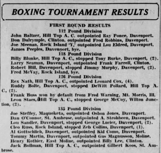 Gil Koos Boxing 1930 - BOXING TOURNAMENT RESULTS FIRST RQCXD RESCLTS...