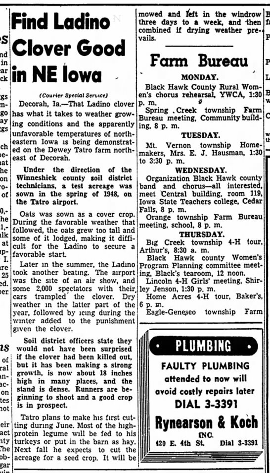 1949 The Mount Pleasant News 6.12.1949 1948 Decorah Air Show - milk flay year go, last nd May ince ause pro-...
