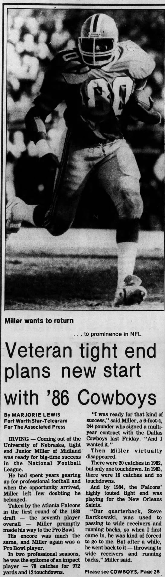 Junior Miller 1986 NFL Cowboys part 1 -