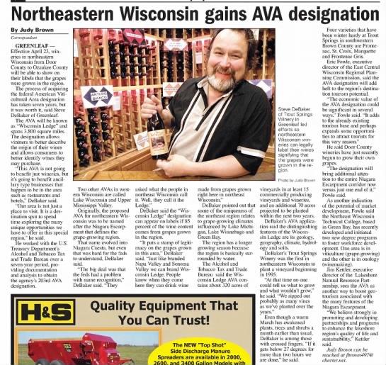 Northeastern Wisconsin gains AVA designation 4/4/2012 -