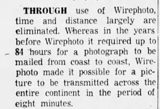 Wirephoto can transmit photos in 8 minutes -