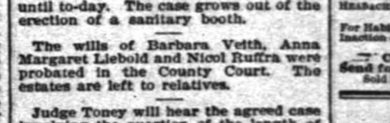 Nicol Ruffra Will 1895 - until to-day. Tb caa (row out of tha Taction of...