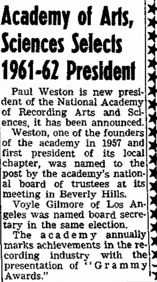 Paul Weston Grammy president 1961 -