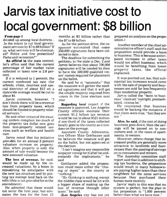 Jarvis tax initiative cost to local government: 8 BillionValley News (Van Nuys, Cal) 18 Oct 1977 - Jarvis tax initiative cost to local government:...