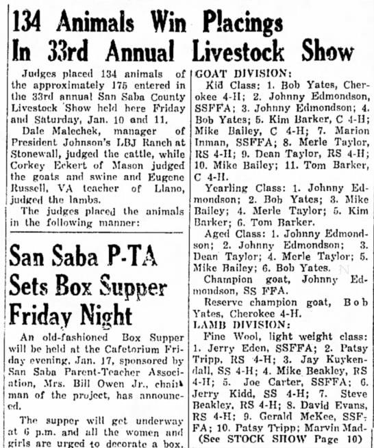 County Livestock Show January 16, 1964 The San Saba News and Star Pg 1 -
