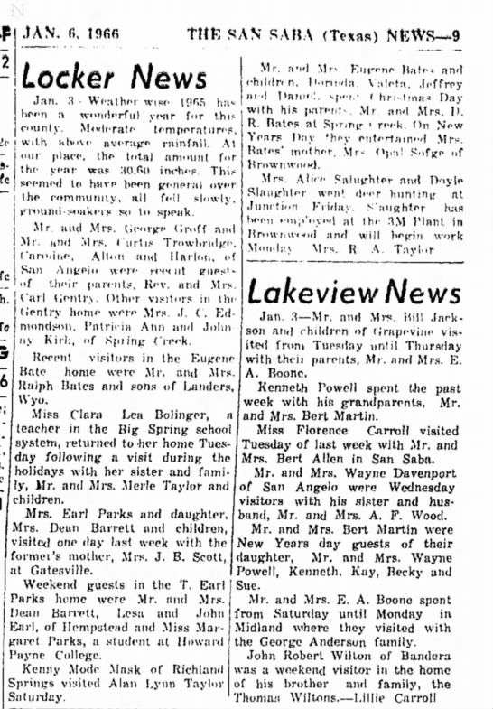 The San Saba News and Star 6 January 1966 Pg 8 Locker News Taylor's -