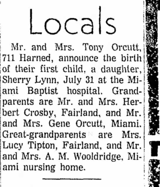 orcutt birth announcement 1968 -