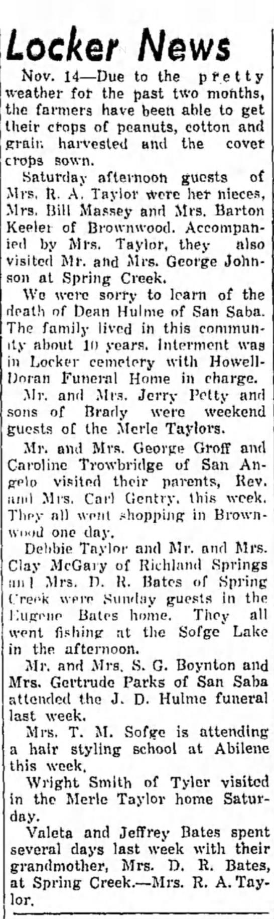 The San Saba News and Star 17 Nov 1966 Pg. 5 Locker News -