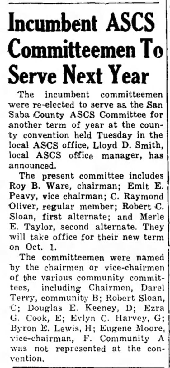 The San Saba News and Star 27 Sep 1962 Pg. 1 Incumbent ASCA Committeement to Serve Next Year -