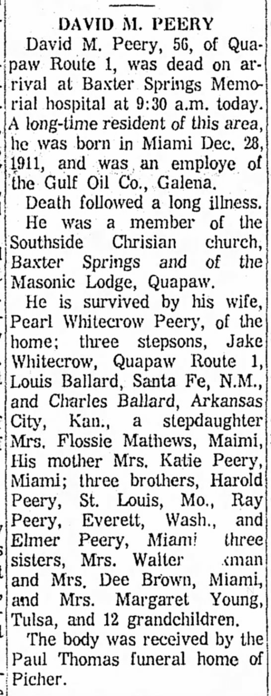 David Peery, Miami News Record, Mon 20 May 1968, pg 3, col. 2, 65th yr no 278 -