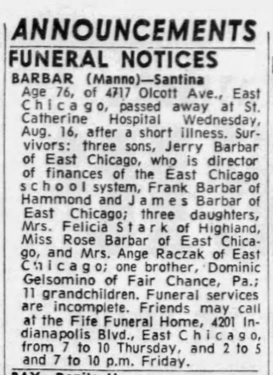 - ANNOUNCEMENTS FUNERAL NOTICES BARBAR (Manno)...