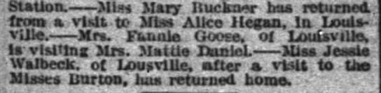 Shelbyville 1893 news.  Mrs. Fannie (Russell) Goose of Louisville visiting. -