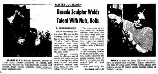 11-29-70 John Duffy Valley News CA article PART 1 -