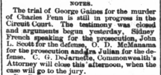Trial of George Gaines for murder of Chas Penn continues Courier-Journal 2 Nov 1882 -