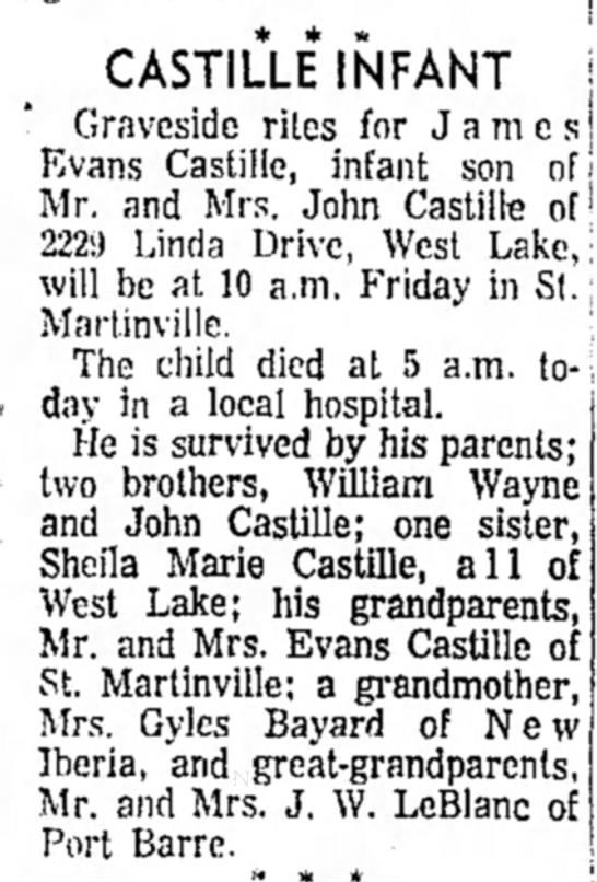- CASTILLE INFANT Graveside rites for James Evans...