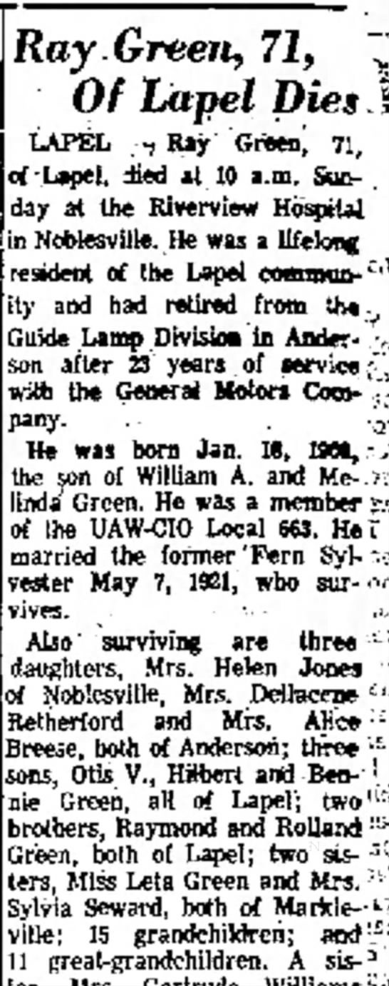 "- Ray Green, 71, ~"" Of Lapel Dies LAPEL -7 tUjr..."