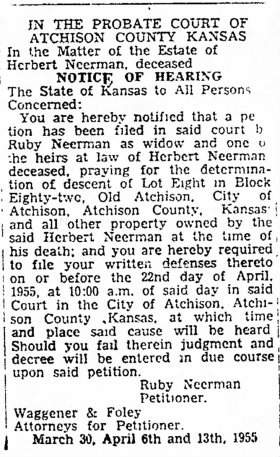 The Atchison Daily Globe; 13 Apr 1955; Wed pg 9-Neerman, Ruby -