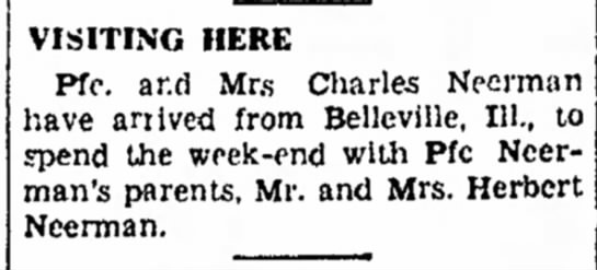 The Atchison Daily Globe; 5 May 1945; Sat pg8-Neerman, Charles & Mary (McMahon) -