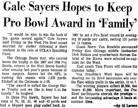 Gale Sayers Hopes to Keep Pro Bowl Award in 'Family' -